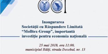 """Inaugurarea Societății cu Răspundere Limitată """"Molltex-Group"""", importantă investiție pentru economia națională"""