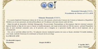 Felicitare Domnului Gheorghe CUCU, Președintele de Onoare al CCI a RM