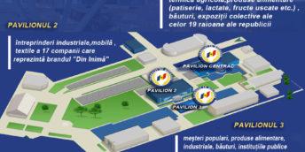 """Harta amplasării standurilor participanților Expoziției naționale """"Fabricat în Moldova"""" 2019"""