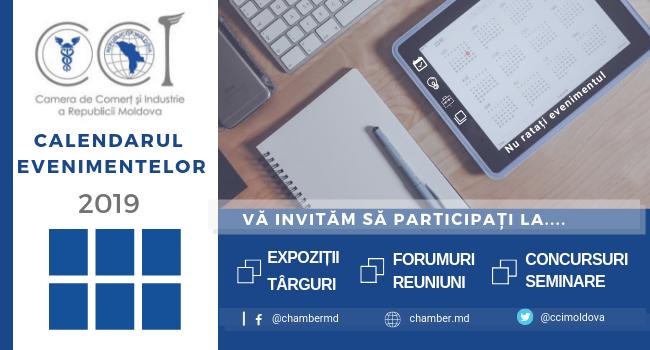 Calendarul evenimentelor CCI a RM septembrie- decembrie 2019